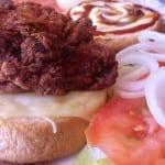 Le Homemade FriedChickenDoubleCheeseBurger