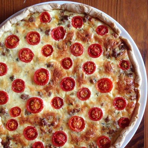 Quiche viande hachée, courgette et tomates cerise