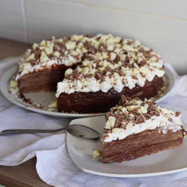 Gâteau de crêpes (ganache au chocolat facile)