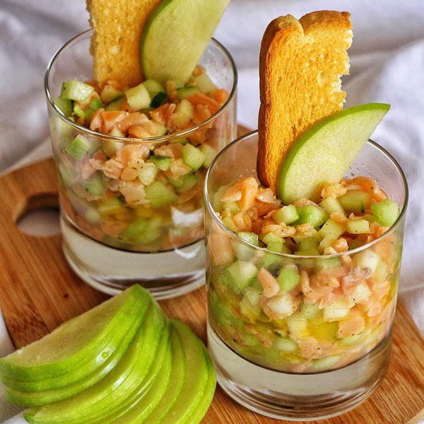 Tartare de saumon, concombre et pomme