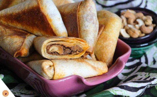 Tacos en samoussas, viande hachée et noix de cajou épicées !
